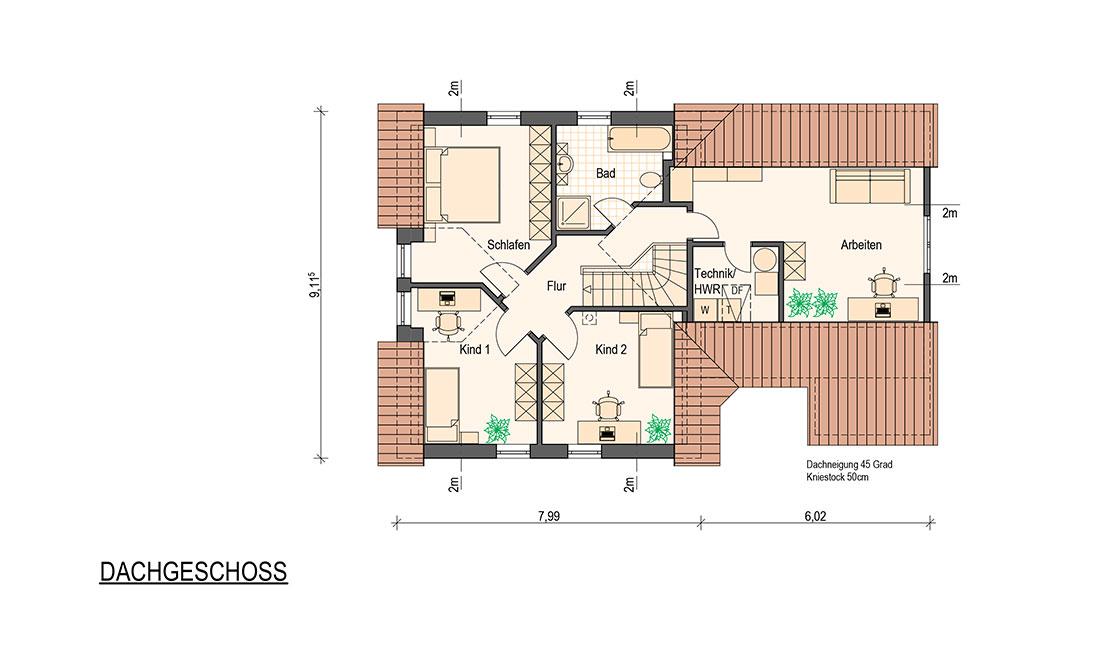 Family Compakt – Grundriss Dachgeschoss