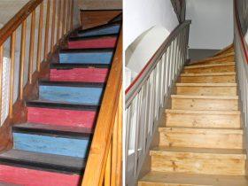 Treppenhaus vor und nach der Sanierung