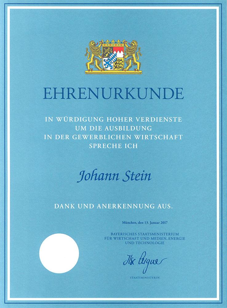 Ehrenurkunde Bayerisches Staatsministerium